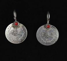 Antique silver coin earrings with Mediterranean coral - Afghanistan, 1920s