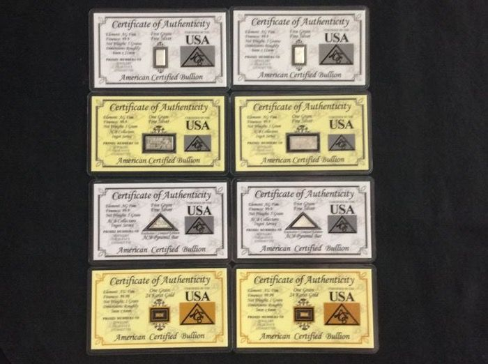 2x24k gold 999, 4x5 grain silver, 2x1 gram 99.9, of which 2x limed edition pyramid certified exclusive USA bullion package