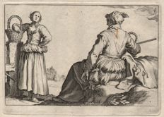 Abraham Bloemaert (1564-1651) by his son Cornelis (1603-1692) : Two peasant women - From the Leisure serie - Ca. 1625