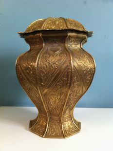 Beautiful decorated copper vase - Netherlands - ca 1900