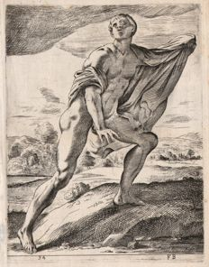 Francois Perrier (1594-1649) - Nude man with drapery from the Niobids group - 1638