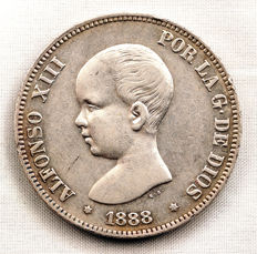 Spain – Alfonso XIII – 5 Pesetas in silver – 1888 – Madrid