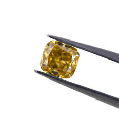 Natural Fancy Brownish yellow 1.07ct. VVS1 Cushion shape Diamond, IGI Certified,