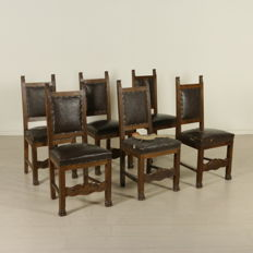 Group of six chairs in Neo-Renaissance style - Italy, early 20th century