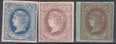Spain 1864 – Isabel II 2 quarters blue, 19 quarters violet mauve and 1 real brown on green – Edifil No. 63, 66, 67.
