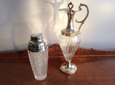 Venetian wine/liquor decanter, crystal cocktail shaker