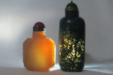 2 snuff bottle from moss agate and from agate - China 20th/21st of century