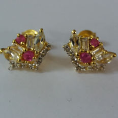 A Stylish and Classical Pair of Genuine Thai Ruby and Brazilian White Topaz  Earrings set in Vermeil