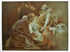 Drawing of art -Leonid Grigorashenko- Jesus washing the feet of Simon Pierre-