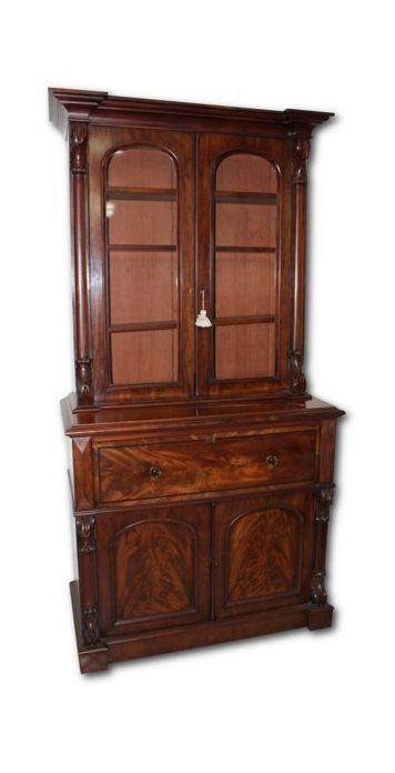 A Victorian mahogany secretaire bookcase - England - second half 19th century