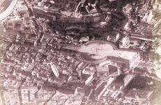 Year 1925 - Saint Peter's basilica - Rome and adjacent areas-photographed by airship - with other airships in lower altitude visible
