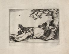 Abraham Bloemaert (1564-1651) by his son Cornelis (1603-1692) : A reclining hunter - From the Leisure serie - Ca. 1625