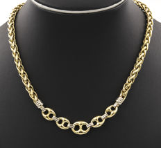 750/1000 (18 kt) yellow gold – 750/1000 (18 kt) white gold – Two-toned necklace – Length: 46.00 cm
