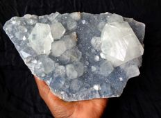 Large Apophyllite crystals on blue Chalcedony - 26 x 16 cm - 1870 gm