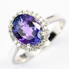 2.76Ct Vivid Purplish Blue Tanzanite 14K White Gold 4.11gram Diamond Ring Europe Size 55 (No Reserve)
