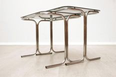 Producer unknown - Set of vintage side tables and a vintage bar trolley