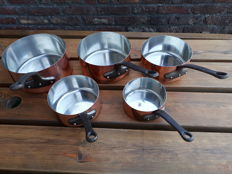 Set of 5 professional cooking pans, red copper, tin-plated cast iron handle 4kg made in France