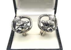"Antique Silver cufflinks with ""Fighting Cock / Rooster"" - ca. 1930"