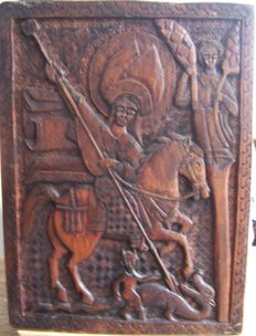 Unique Ethiopian icon George and the Dragon