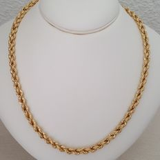 18 kt Yellow gold thick necklace, cord style – Length: 52 cm