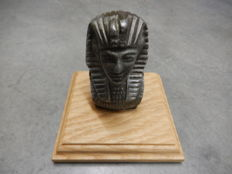 Original Vintage Aluminium Metal Sphinx Head Car Auto Mascot Finely Cast Mounted on Oak Wooden Base
