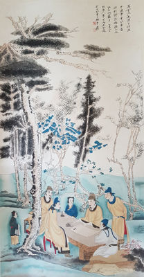 A Hand painted scroll painting 《张大千-文会图》after Zhang Daqian - China - late 20th century