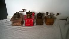Four special coffee grinders / lap coffee grinders including Douwe Egberts