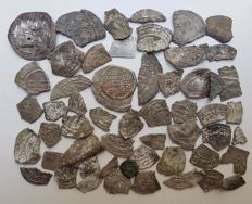 Spain - Lot of 53 silver dirham fragments, minted in the 10th century in the name of Abd al-Rahman III, Al-Hakam II, Hisam II, Muhammad and Sulayman.