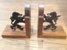 Wooden bookends with metal lions
