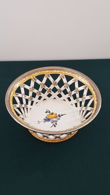 Ceramic Reticulated Basket Richly Decorated in Silver 950/1000