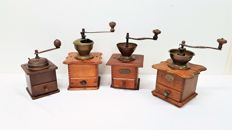 Four antique coffee grinders - second half 20th century