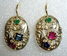 14 kt / 585 gold earrings with diverse natural gemstones: Sapphire / emerald / ruby and diamond