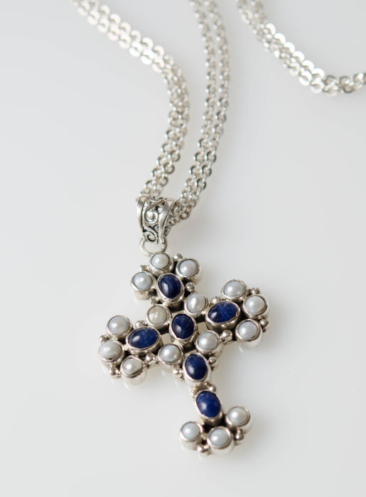 Large cross pendant with blue stones and pearls with necklace 925 large cross pendant with blue stones and pearls with necklace 925 silver aloadofball Gallery