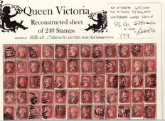 Great Britain Queen Victoria 1864/1879 - Stanley Gibbons 43/44, 1d Red Plate 179 Sheet Reconstruction
