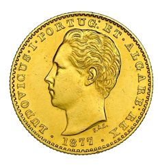 Portugal - Gold coin of 2000 reis - Minted in 1877 in the name of Luis I (1861-1889) King of Portugal  Lisbon