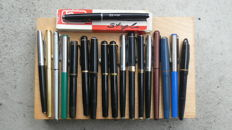 Collection of 18 fountain pens