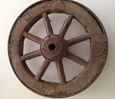Antique wood and iron wheel, late 19th century