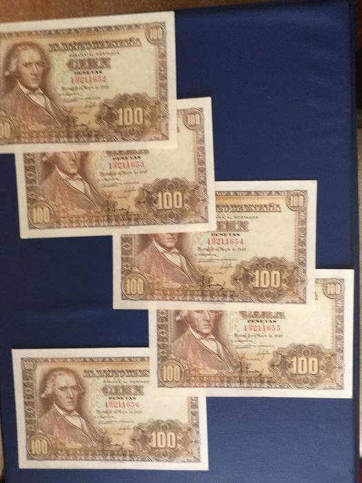 Spain - 5x 100 Pesetas 1948 - Pick 137a - 5 correlative banknotes