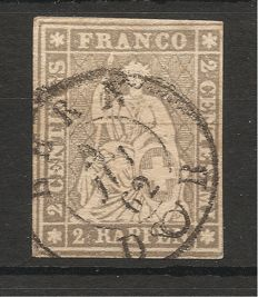 Switzerland 1854/1862 - sitting Helvetia imperforate - Michel no. 19, Zumstein no. 21G
