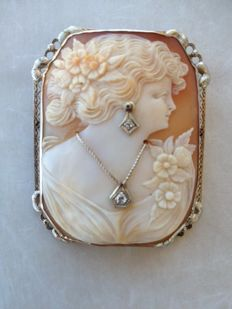 Vintage Edwardian style 14K White Gold Shell Cameo Antique Brooch Pin Diamond Necklace