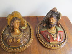 Two terracotta plaques in relief - France - second half 19th century