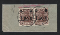 Dt.Reich 1922 - A pair used on small piece Michel 154 Il b
