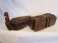 Two wooden Sirih containers – Indonesia – late 19th century