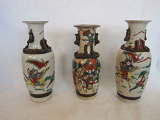Three porcelain Nanking vases – China – first half of the 20th century