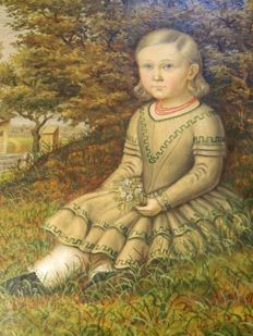 Josef Weidner (attributed, 1801-1870) - Portrait of a girl sitting in grass, Vienna
