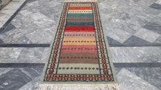 Runner Kilim Sumak Saveh Hand Woven 100% Wool 2.25 x 0.80 Authentic