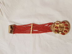 Yellow gold and coral bracelet - Sardinia