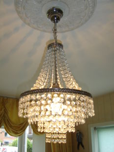 Beautiful four-ring chrome small model  chandelier with glass facets, Netherlands, 20th century