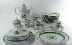 Scherzer - Bavaria, porcelain breakfast and dinner set with green flower decor, 48 pieces and 10 various pieces