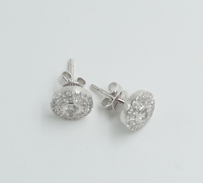 Diamond Earrings with Natural Loose Diamonds 0.52 Ct / VS / F - White Gold 18 K